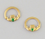 pierced earrings gold plated stainless steel Claddagh green heart