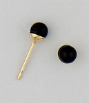 pierced earrings Gold posted ball 4mm Genuine Onyx