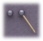 pierced earrings Gold posted ball Pearl Gray 3mm simulated