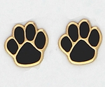 pierced earrings gold posted black inlay paw print