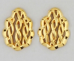 Pierced earrings gold posted braided oval