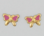 pierced earrings gold posted butterfly with grape color inlay