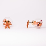 pierced earrings gold posted coral starfish glass ball double sided
