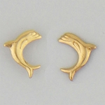 pierced earrings Gold posted Dolphin