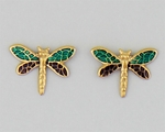pierced earrings Gold posted Dragonfly large translucent plum and teal