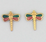 pierced earrings Gold posted Dragonfly translucent sapphire and pink