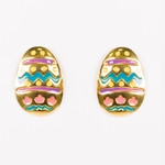 pierced earrings Gold posted Easter Egg pastel colors