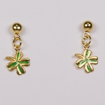 pierced earrings gold posted half ball with tiny gold and green 4 leaf clover