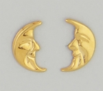Pierced earrings Gold posted Moon 1 2 face