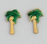 pierced earrings Gold posted palm Tree green