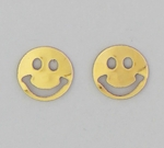 pierced earrings Gold posted Smile Face small