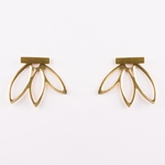 pierced earrings gold posted stick with cutout leaf jacket