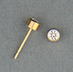 pierced earrings Gold posted stud 3mm April Birthstone