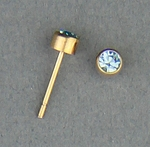 pierced earrings Gold posted stud 3mm March Birthstone