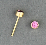 pierced earrings Gold posted stud 3mm October Birthstone