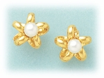 pierced earrings Gold Star Small Loop With Pearl