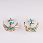 Pierced earrings gold teal crystal moon and star jacket