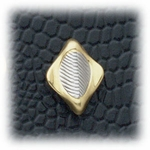 Pierced earrings posted Diamond wavy small Two tone gold and silver