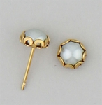 pierced earrings posted gold 5mm round lace setting sapphire pearl