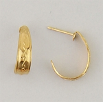 Pierced earrings posted Gold Hoop with Zigzag design