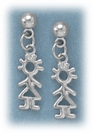 Pierced earrings posted silver ball with girl charm