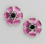 Pierced earrings posted silver flower pink petals & black center