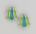 pierced earrings posted silver wave with blue and jade green inlay