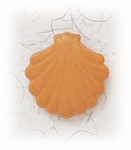 Pierced earrings posted Stainless Steel Shell medium marigold yellow