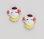 pierced earrings posted white red and pink clown face
