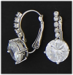Pierced earrings silver crystal euro clasp 10millimeter round crystal