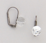 pierced earrings silver euro clasp 8 millimeter crystal ball