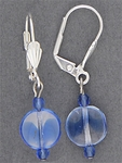 pierced earrings silver euro clasp blue flat bead drop