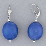 pierced earrings silver euro clasp blue wooden bead