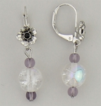 Pierced earrings silver euro clasp flower purple aurora borealis beads