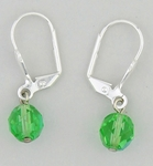 pierced earrings silver euro clasp green aurora borealis bead