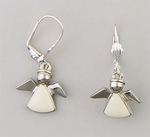 pierced earrings silver euro clasp hanging white angel