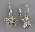 pierced earrings silver euro clasp lever back Green Crystal Flower