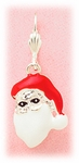 Pierced earrings silver euro clasp lever back with hanging Santa