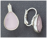 Pierced earrings silver euro clasp lever back with milky pink teardrop