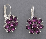 pierced earrings silver euro clasp purple crystal flower
