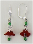 pierced earrings silver euro clasp red and green flower drop
