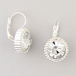pierced earrings silver euro clasp round crystal beaded setting