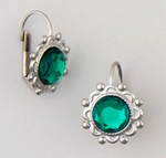 pierced earrings silver euro clasp round lace setting green stone