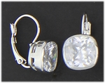Pierced earrings silver euro clasp square cubic zirconia