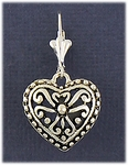pierced earrings silver euro clasp with antique silver heart drop