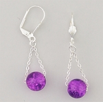Pierced earrings silver euro clasp with chain and fuchsia bead drop