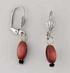 Pierced earrings silver euro clasp with oval Copper beads