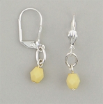 pierced earrings silver euro clasp yellow bead