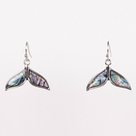 pierced earrings silver French hook Abalone whales tail