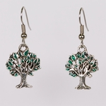 pierced earrings silver French hook antique and green tree